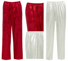 Ladies Satin Bottoms Pants Lounge ORIENTAL Red White Silky Pyjama Trouser Floral