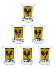 Lot of 6 Shot Glass With Puerto Rico Rooster Flag Crystal SOUVENIR Rican Boricua