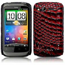 For HTC Desire S Red Croc Style Skin PU Leather Hard Back Case Cover