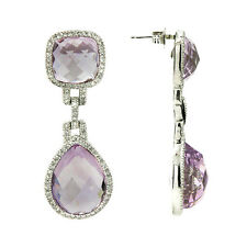 Pink Amethyst & Diamond Dangle Drop Earrings 14k Rose Gold