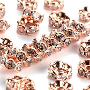 200pcs Rose Gold Brass Pave Rhinestone Beads Flower Nickel Free Loose Spacer 6mm