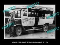 OLD LARGE HISTORIC PHOTO OF GYMPIE QLD, THE LEWIS & SON PASSENGER BUS 1926