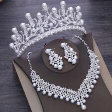 Vintage Bridal Pearl Crystal Crown Headbands Tiara Necklace Earrings Jewelry Set