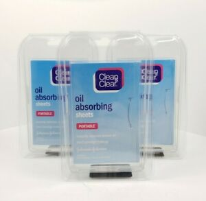 Lot Of 3 -  Clean & Clear Oil Control absorbing Sheets for Face, 50 Sheets Each
