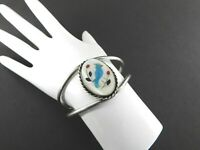 Vintage Bird Cuff Bracelet Mother Pearl Small Solid 925 Sterling Silver 6