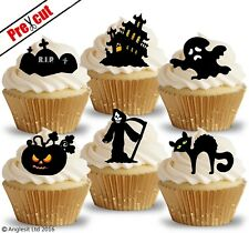 PRE-CUT HALLOWEEN MIX VI. EDIBLE WAFER PAPER CUP CAKE TOPPERS PARTY DECORATIONS