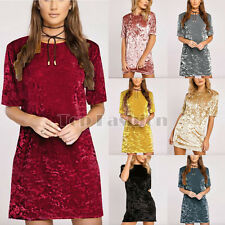 UK Womens Soft Crushed Velvet Long T-Shirt Ladies Shift Mini Dress + Chic Choker