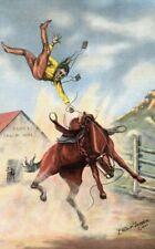 Postcard Old West Western Cowboy Rodeo Bucking Horse  LH Dude Larsen Artist