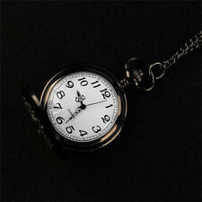 Retro Skeleton Steampunk Mens Pocket Watch Quartz Open Case With Metal Chain UK