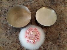 ANTIQUIE SILVER ON COPPER COLLECTORS ITEM- POWDER PUFF ROUND BOX AND PUFF