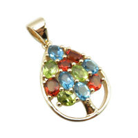 Real Swiss Blue Topaz Peridot AAA Madeira Citrine Pendant 14K SOLID YELLOW GOLD