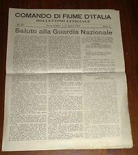 SALUTO ALLA GUARDIA NAZIONALE Comando di Fiume d'Italia  1920