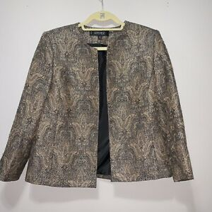 Womens Kasper Gold & Black Metallic Collarless Brocade Open Front Jacket sz 10P