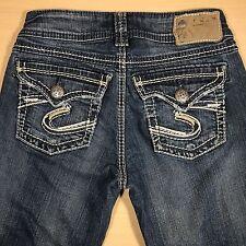SILVER Jeans SUKI SURPLUS BOOT 25x30 Medium Blue Distressed   EUC* 082317