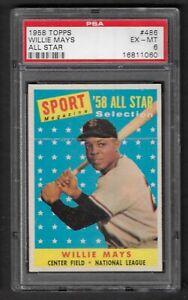 1958 Topps Willie Mays All-Star #486 PSA 6 EX-MT GIANTS HOF