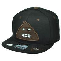 Emoji Poop S**t Angry Mad Snapback Black Hat Cap Emoticons Flat Bill Text Symbol