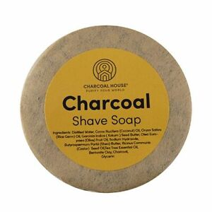 Charcoal Shave Soap with Tea Tree Essential Oil Shea Butter 3 oz. Face & Body
