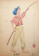 1959 Boy fisherman costume design watercolor drawing signed