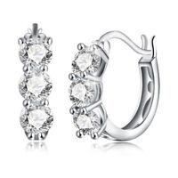 White Topaz Crystal Out Oval Hoop Earrings in Sterling Silver with Swarovski