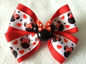 """Girls Hair Bow 4"""" Wide Minnie Mouse Hearts Ribbon Red Flatback Alligator Clip"""