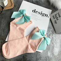 Women Bow Socks Cotton Spandex Solid Casual Short Bow Knot Footwear Accessories