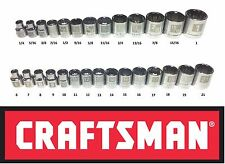 "CRAFTSMAN EASY READ 28 pc SAE STANDARD & METRIC 3/8"" DRIVE 12 POINT SOCKET SET"