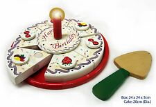 NEW Wooden Cutting Birthday Cake - Pretend Role Play Food for Kids