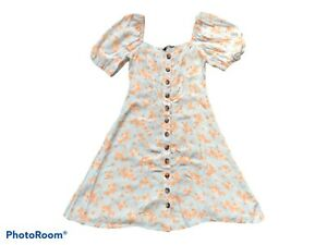 BNWT F&F Floral Print Fit & Flare Dress Ice Blue/Apricot UK 6 Cottagecore K2