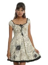 EUC Harry Potter Hot Topic Marauder's Map Fit & Flare Lace Up Cosplay Dress M