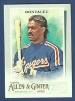 2020 Topps Allen & Ginter Short Print Juan Gonzalez #315 Texas Rangers