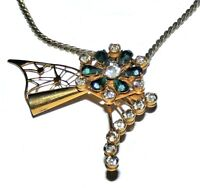 Vintage Flower Pendant Necklace Gold Tone Rhinestone Crystal Floral