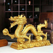 Chinese Feng Shui Imitation Copper Resin Lucky Crafts Gold Dragon Decorations