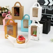 Gift Boxes w/ Clear Window Cake Cookie Muffin Packaging Holder Dessert Container