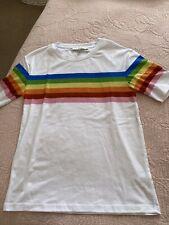 White Rainbow Print T-shirt Top Next Size S