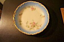"""T&V Limoges France 10"""" Bowl Blue Trim Pink Blue Flowers"""