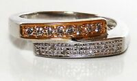 9CT YELLOW WHITE GOLD DIAMOND CROSS OVER ETERNITY WEDDING BAND RING Size N