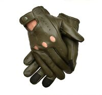 MEN'S CHAUFFEUR REAL SHEEP  LEATHER CAR DRIVING GLOVES TOUCH SCREEN!!
