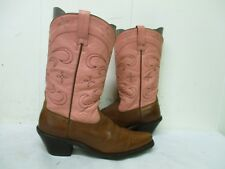 ARIAT Brown Pink Leather Snip Toe Cowboy Boots Size 6.5 B Style 13620
