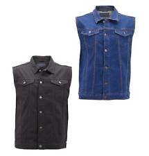 Men's Classic Button Up Casual Cotton Stretch Denim Biker Jean Jacket Vest