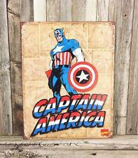Captain America Superhero Marvel Comics Comic Cover Metal Tin Sign Man Cave Room