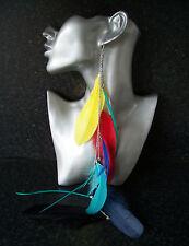 "Stunning 18"" Long Feather Single Earring Rainbow Transvestite Crossdresser"