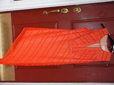BisouBisou Evening Dress size 16W Orange Sheer Lined Asymmetrical hem Sleeveless