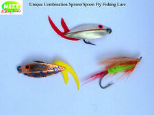 Fly Fishing Unique Combination Spinner/Spoon Lures with Rubber Tails