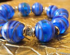 BLUE LAMPWORK GLASS BEAD STRETCH TO FIT BRACELET GOLD TONE FINDINGS NEW IN POUCH