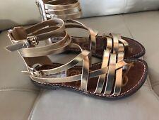 Sam Edelman Ganesa Gladiator Saddle Gold Leather Back Zip Strappy Sandal 7