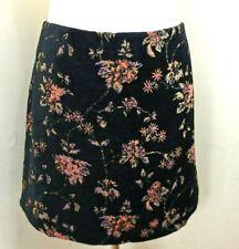 Monsoon Skirt Size 20 Women Black Magnolias Flower Print Knee Length Velvet Zip