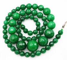 "New 6-14mm Green  Faceted Natural Emerald Round Beads Necklace 18"" AAA+"