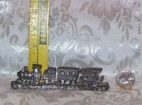 LOCOMOTIVE TRAIN WITH 4 CARS COLLECTIBLE PEWTER FIGURINE UNSIGNED 13 OUNCES