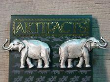 """""""JJ"""" Jonette Jewelry Silver Pewter Detailed Elephant Pierced Earrings"""