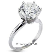 3.03 CT J/VS2/Ex Round Earth Mined Diamond Platinum Classic Solitaire Ring 5.1gr